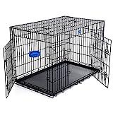 SONGMICS Hundekäfig Hundebox Transportbox Drahtkäfig Katzen Hasen Nager Kaninchen Geflügel Käfig schwarz 122 x 81 x 76 cm XXXL PPD48H
