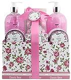 BRUBAKER Cosmetics Bade- und Dusch Set 'Classic Rose' - Rosen Duft - 13-teiliges Beauty Geschenkset in Vintage Geschenkbox