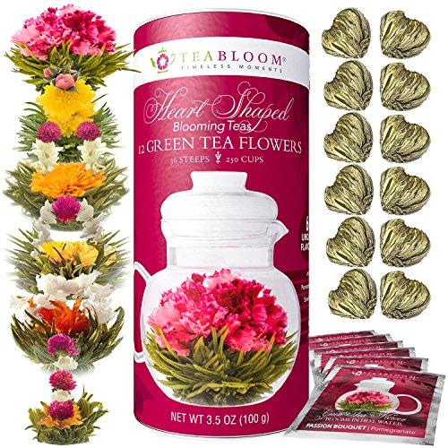 Teabloom Herzförmiger Blütentee – Geschenk-Set mit 12 zusammengestellten Blühenden Teeblumen - Grüner Tee + Jasmin, Granatapfel, Erdbeere, Rose, Litchi & Pfirsich