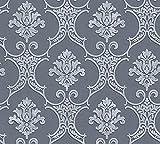Livingwalls Vliestapete Moments Tapete mit Ornamenten barock 10,05 m x 0,53 m blau grau Made in Germany 328304 32830-4