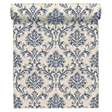 A.S. Création Vliestapete New Look Tapete mit Ornamenten barock 10,05 m x 0,53 m blau creme metallic Made in Germany 335394 33539-4
