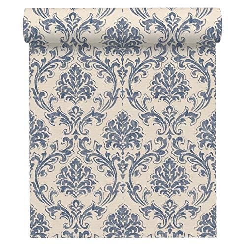 A.S. Création Vliestapete New Look Tapete mit Ornamenten barock 10,05 m x 0,53 m blau creme metallic Made in Germany 335394 33539-4