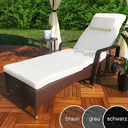 Rattan Garten Liege Relax Polyrattan Gartenliege Rattanmöbel Liegestuhl Sonnenliege (Braun)