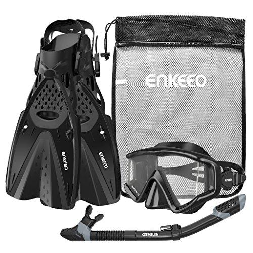 ENKEEO Schnorchelset 3-in-1 Tauchmaske mit der Neueste Anti-Fog Weitwinkel-Tauchbrille, trockenen Atemschlauch, Profi Flossen und Netzbeutel, Schwarz (L/XL)