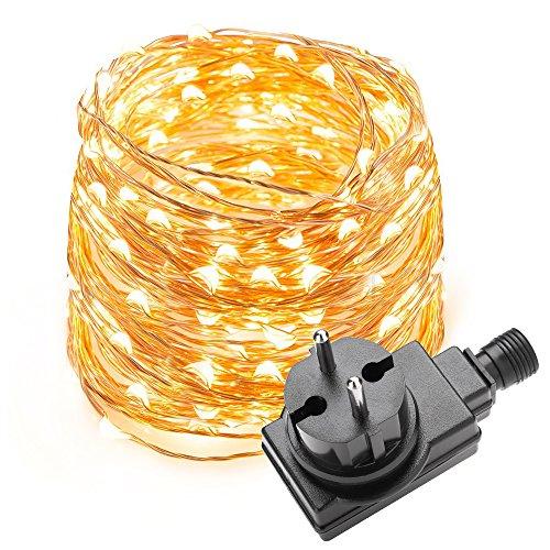 LE 10M LED Lichterkette 100 LEDs Kupferdraht Wasserdicht Sternen strombetrieben Warmweiß