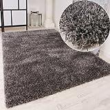 Shaggy Teppich Hochflor Langflor leicht Meliert Qualitativ u. Preiswert Uni Grau, Grösse:120x170 cm
