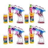 S/O 4er Pack LED Seifenblasenpistolen incl. 2x50ml Seifenblasen Flüssigkeit Ohne Batterien Pistole Bubble Gun
