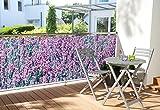 WOHNWOHL Balkonumspannung Balkonbespannung Sichtschutz Windschutz 90x500cm, Design Lavendel