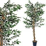 Großer grüner Ficus Baum, Echtholzstamm, Kunstbaum, Kunstpflanze, Dekobaum - Variante: 160 oder 190 cm