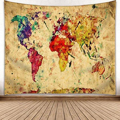 melonengrau Weltkarte Wandteppich, Wandtuch, Tapisserie, Tagesdecke, Wandbehang mit hoch detailliertem Druck 130cm x 150cm
