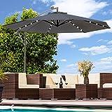 Swing & Harmonie Sonnenschirm mit LED Beleuchtung Ampelschirm 300cm / 350cm Solar Garten Schirm Pavillon (Ø 300cm, Anthrazit)