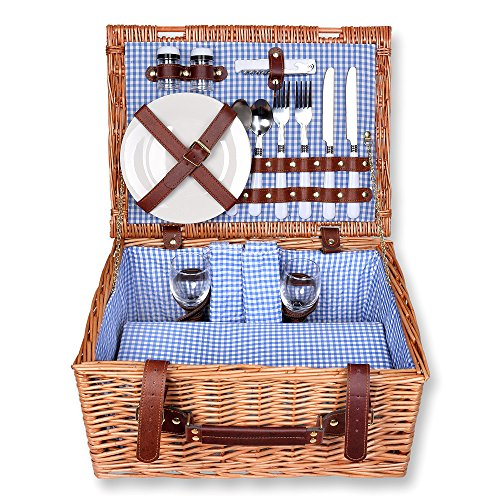 Schramm Picknickkorb rechteckig aus Weidenholz für 2 Personen Picknickkoffer Picknickset Picknick Korb Innen blau kariert
