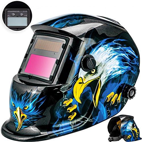 Masko Automatik Schweißhelm   großes Sichtfeld   für alle gängigen Schweißtechniken - Schweißmaske Schweißschirm Solar Schweißschild Schutzhelm , Helm mit Polsterung ,   gegen Funken, Spritzer oder Strahlungen   ater