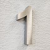 Metzler-Trade 3D-Hausnummer Nr. 1 aus Edelstahl (V2A - gebürstet) - rostfrei & witterungsbeständig - 20 x 3,5 cm (Höhe x Tiefe) groß - modernes Design - inkl. Montagematerial