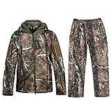 Camouflage Jacke New View Outdoor Wasserdicht Windproof Fleece Kapuzen Jagd Fischen Jagdbekleidung und Hosen (XXL, Camouflage)