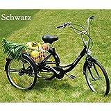 RMAN Dreirad Für Erwachsene Erwachsenendreirad Seniorenrad Lastenfahrrad 24' Shimano 6-Gang-Schaltung Schwarz