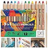 Dicke Buntstifte, Wasserfarbe und Wachsmalkreide - Colozoo Gecko 3 in 1 Stifte | 12 Wachsmalstifte wasservermalbar inkl. extra Pinsel und Spitzer | Malstifte für jede Oberfläche