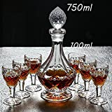 L&J Führen kostenlose kristallkaraffen mit Deckel für Whiskey likörwein Scotch, Bourbon,Wein karaffe Set für Restaurant Bar weingut jubiläum - 700ml,800ml,900ml-T