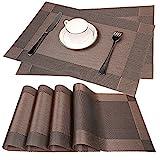 Fontic 6er Set Platzsets 30x45cm Platzdeckchen Rutschfest Abwaschbar Tischmatten aus PVC Abgrifffeste Hitzebeständig Tischsets Schmutzabweisend und Waschbare, Platz-Matten für küche Speisetisch (Braun)