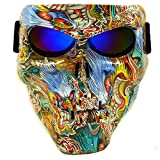Vhccirt Motorrad Schutzmaske mit Polarisierte Brillen Skibrille Maske Halloween Totenkopf Maske, Herren, Japan Ukiyo-e