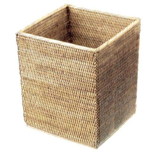 Decor Walther 0927391 Basket QK H Papierkorb quadratisch, Rattan hell
