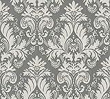 awallo Vliestapete in neo barocker Optik Tapete mit Ornamenten glamourös klassisch 10,05 m x 0,53 m grau metallic Made in Germany 317612 3176-12