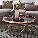 Design Couchtisch ROUND ø 82cm Rund Glas Kupfer | Runder Lounge Tisch verspiegelt | Moderner Wohnzimmertisch | Glastisch Sofatisch für Wohnzimmer Beistelltisch