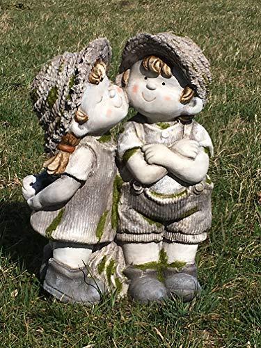 Unbekannt Gartenfigur Mädchen küsst Junge - Liebe, Love, Garten