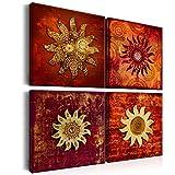 decomonkey Bilder Abstrakt Sonne 80x80 cm 4 Teilig Leinwandbilder Bild auf Leinwand Vlies Wandbild Kunstdruck Wanddeko Wand Wohnzimmer Wanddekoration Deko Kunst