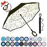 Reversion Regenschirm, Innovative Schirme Double Layer Winddicht Regenschirm Freie Hand Taschenschirm inverted Stockschirme mit C Griff für Reisen und Auto Outdoor di ZOMAKE(Kleine Gemüsesämlinge)