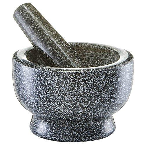 Zeller 24501 Mörser und Stößel-Set, Granit, anthrazit, ca. 13 x 13 x 8 cm