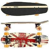 FunTomia Cruiser Midi-Board / Skateboard 65cm aus 7-lagigem kanadischem Ahornholz / oder 5-lagen kanadischem Ahornholz und 2-lagen Bambusholz inkl. MACH1 ABEC-11 Kugellager - mit oder ohne LED Rollen (England / mit orangen LED Rollen2 / aus Ahornholz)