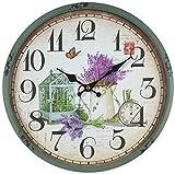 perla pd design Metall Wanduhr mit Glasscheibe Vintage Design Frühlingsgarten türkis lackiert ca. Ø 30 cm