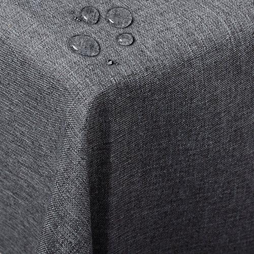 WOLTU TD3043gr Tischdecke Tischtuch Leinendecke Leinen Optik Lotuseffekt Fleckschutz pflegeleicht abwaschbar schmutzabweisend Farbe & Größe wählbar Eckig 130x220 cm Grau