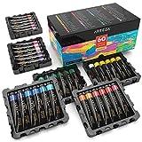 Arteza Acrylfarben – Hochwertige Acryl Künstlerfarbe für Leinwand - Malfarben Set mit 60 Farben in Tuben