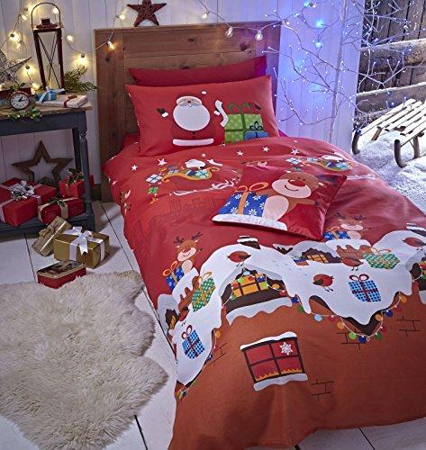 Catherine Lansfield Bettwäsche-Set für Einzelbett, 135 x 200 cm + 1, 50 x 75 cm, 55 Prozent Baumwolle 45 Prozent Perkalpolyester Santa's Geschenk-Set