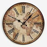 Amerikanische ländlichen pastoralen retro wanduhr, kreative kreative uhr, die weltkarte personalisierte wanduhr , 14 inches. , diameter 34 cm