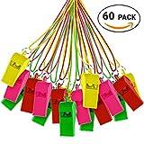 THE TWIDDLERS 60x Plastik Trillerpfeife Set mit Schlüsselanhänger Zum Umhängen – Bunte & Farbige Kunststoff Party Pfeifen – Ideal als Scherzartikel, Fussball Mitgebsel & Spielzeug