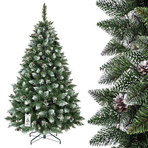 FairyTrees künstlicher Weihnachtsbaum KIEFER, Natur-Weiss beschneit, Material PVC, echte Tannenzapfen, inkl. Metallständer, 180cm, FT04-180
