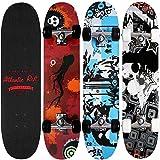 Skateboard Skate Board Komplettboard Deck Funboard Holzboard ABEC 9 80x24cm Ahornholz blau -【Farbauswahl】