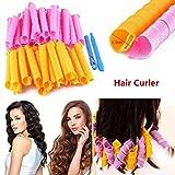 DIY Haar Lockenwickler Werkzeug 55CM Spiral Curls Curlformers Styling Kit mit Haken (Packung von 40, Rosa-orange)