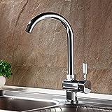 Auralum Chrom Mischbatterie Küchenarmatur Wasserhahn Armatur Waschbecken Spüle Wasserfall für Küche Type A