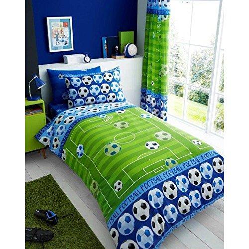 Tor Fußball Einzelbett decken und Kissenbezüge Set-blau