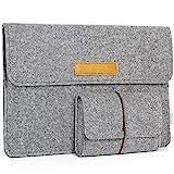 JSVER 15,4 Zoll MacBook Pro Retina Filz Sleeve Hülle Laptop Ultrabook Notebook Tasche speziell für 15,4 Zoll MacBook Pro, Klettverschluss,Grau