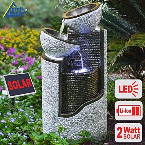 GARTENBRUNNEN BRUNNEN Solar BRUNNEN ZIERBRUNNEN VOGELBAD WASSERFALL GARTENLEUCHTE TEICHPUMPE - SPRINGBRUNNEN WASSERSPIEL für Garten, Gartenteich, Terrasse, Teich, Balkon, sehr DEKORATIV, VERBESSERTES MODELL MIT PUMPEN-INSTANT-START-FUNKTION SOLARTEICHDEKORATION, GARTENDEKO, LED-Solar-Set Wasserbrunnen 'GRANIT-SÄULE & SCHALEN' mit LiIon-Akku & LED-Licht GARTENLEUCHTE STEHLAMPE
