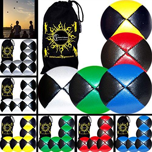 Flames N Games Thud Pro Jonglierbälle 5er Set - Profi Beanbag Bälle (LEDER) + Reisetasche! Komplett-Set Ideal Für Anfänger und Auch Für Profis! (Multicolour)