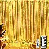 BrizLabs LED Lichtervorhang 300 LED Lichterkettenvorhang 3M*3M 8 Modi USB Betrieb Kupferdraht Lichterkette Fernbedienung für Innen Party Schlafzimmer Weihnachten Fenster Deko, Warmweiß