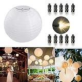 10 Stücke Papierlaterne weiß Lampion + 10er Mini LED-Ballons Lichter, rund Lampenschirm Hochtzeit Party Dekoration Papierlampen 8'(20cm)