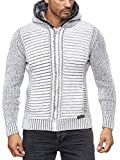 Herren Strickjacke warme Kapuzenjacke Fell-Kapuze Winter-Jacke RS-18002 Weiß L