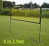 PodiuMax 4 in 1 Netz für Mini badminton, Volleyball, Tennis & Pickleball, 3m breit mit einstellbarer Höhe - gelb / schwarz